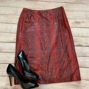 Anne Klein 2 Leather Snake Print Skirt 10